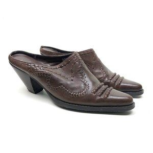 White Mt Bronco Woven Brown Leather Slip On Mules